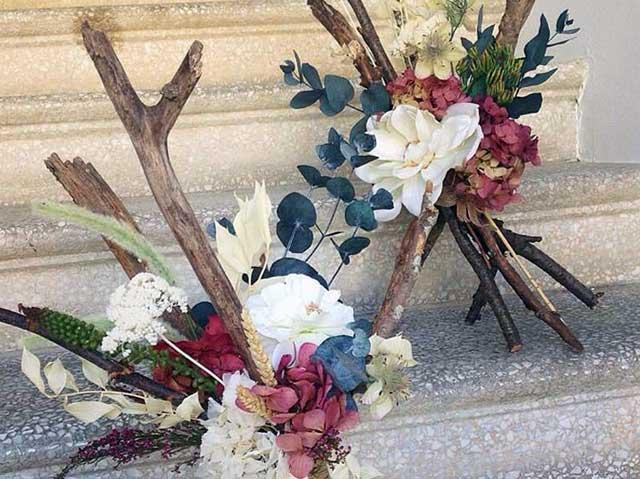 Troncos de flor seca presevada