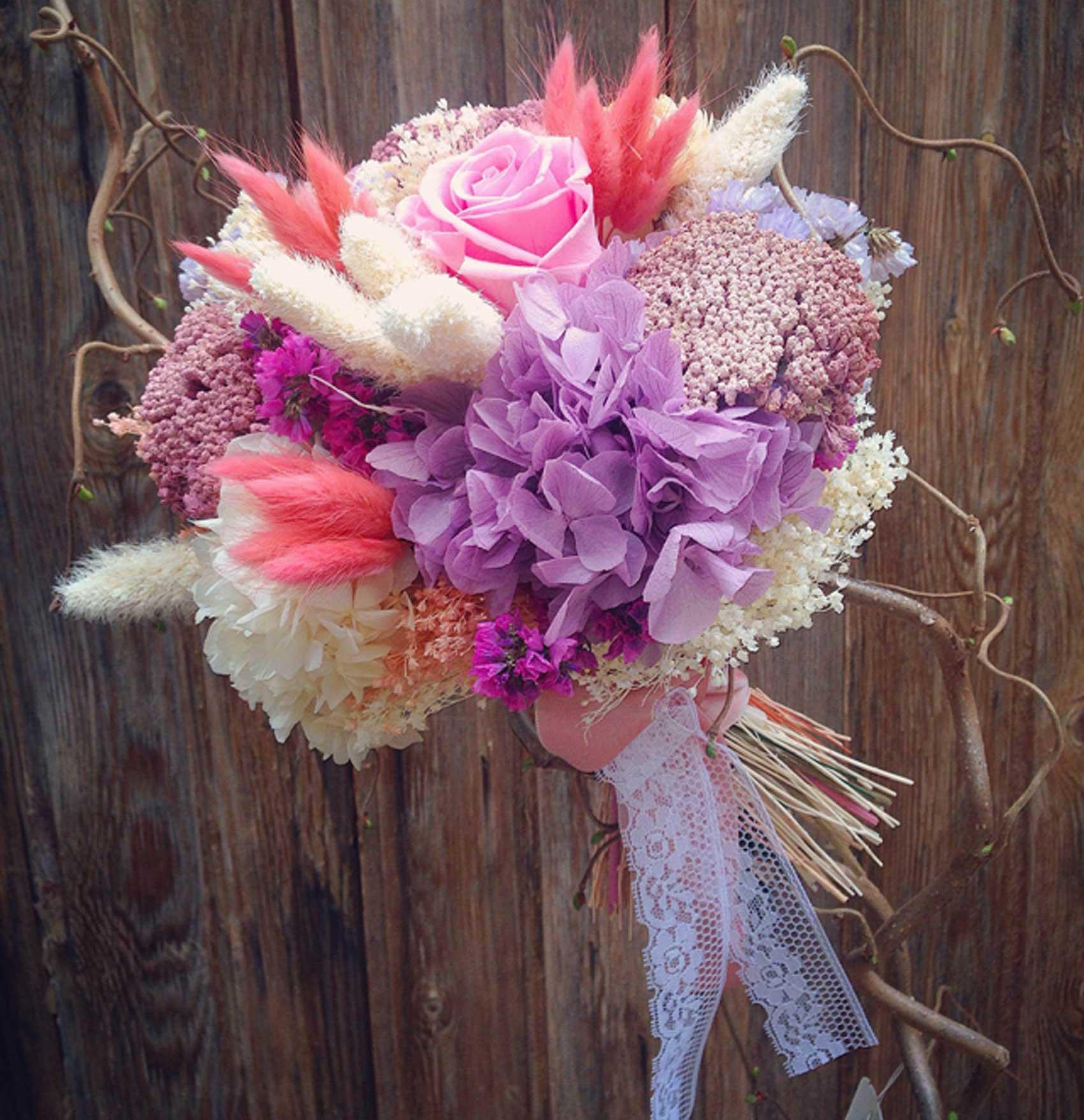 Bouquet Preservado Con Flor Seca Y Hortensia Preservada En Tonos  ~ Ramos De Novia Flores Preservadas