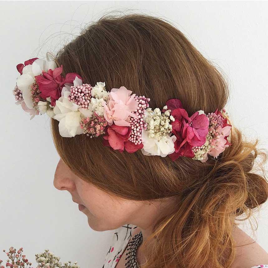 Corona de flores secas y preservada, conjunto de ramo con el mismo diseño, para novias y comuniones