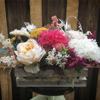 Caja madera decorativa flores secas preservadas venta online barcelona