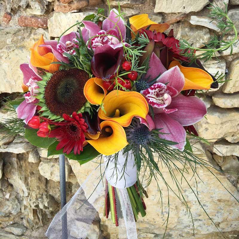 Ramo, bouquet, de novia con orquideas y calas
