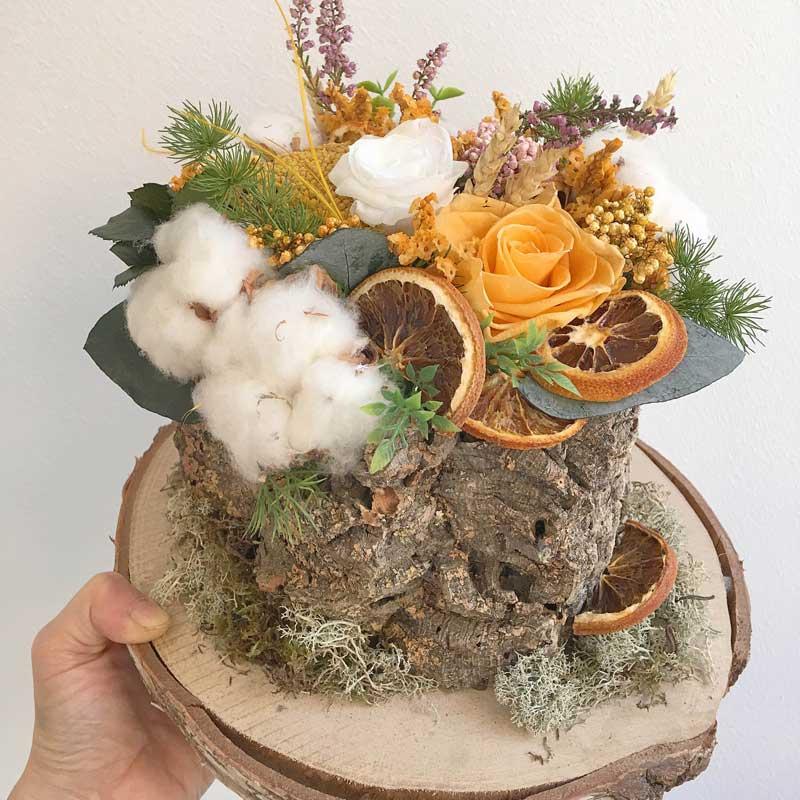 Centro para otoño, algodón, flor seca y preservada, de venta online