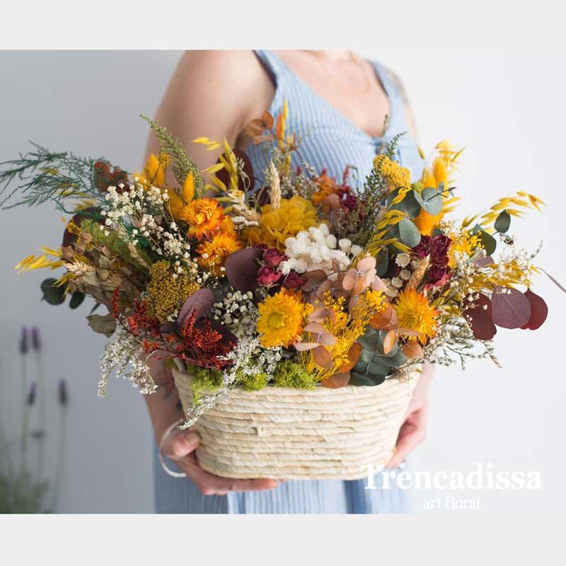 Centro de palma con flor seca y preservada venta online