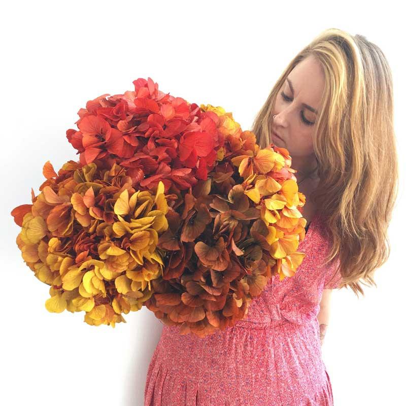Precioso ramo decorativo con hortensias en tonos otoñales