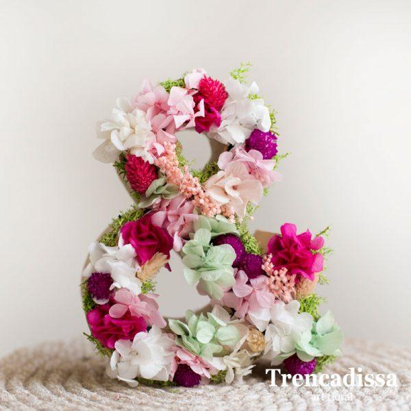 Letras con flor seca y preservada venta online