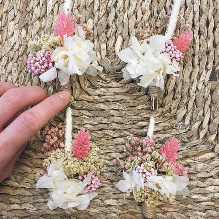 Botonería, prendido de novio diseñado armónicamente a conjunto con tu ramo de novia