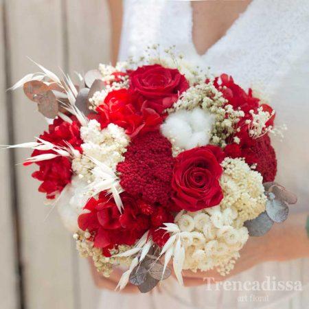 Ramo de novia en rojo y blanco, venta online floristería Barcelona