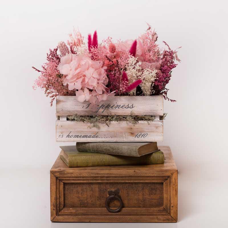 Caja De Madera Decorada Con Flores Preservadas Trencadissa Art Floral