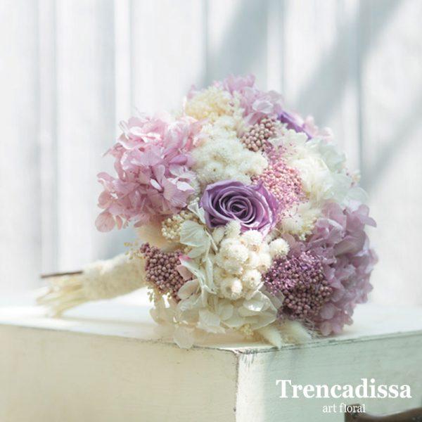 Ramos de flores para novias en flor seca, en tonos pastel, venta online para toda España