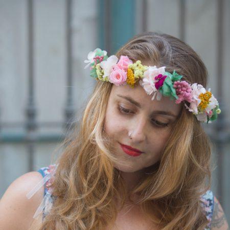 Corona con flor seca y preservada, venta online desde Barcelona