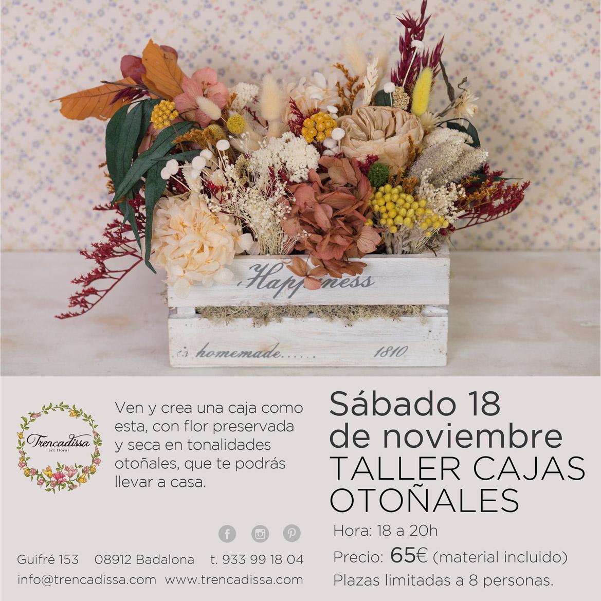 Taller de cajas de madera con flor seca y preservada