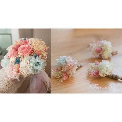 Pack de dos prendidos acorde con el ramo de novia, venta online