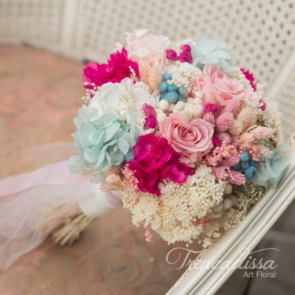 Marion. Ramo de novia en tonos rosados