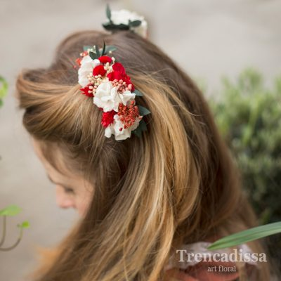 Peineta floral preservada en blanco y rojo, venta online
