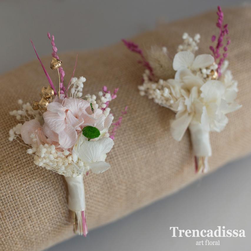 Prendidos florales para bodas, en tonos rosa y blanco, personalizado para el ramo de novia Electra