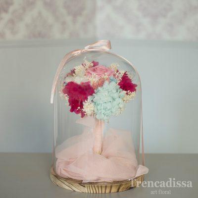 Cúpula de vidrio para réplicas de ramos de novia