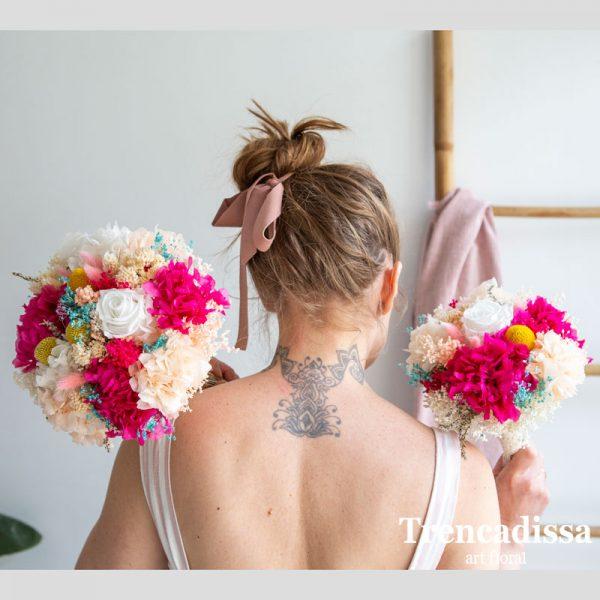Réplica de ramo de novia Cléa, con flores preservadas en tonos rosa y peach