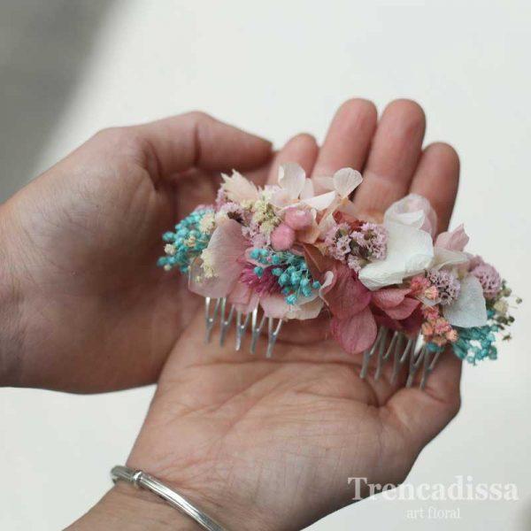 Peineta de flor preservada en tonos blancos, rosas y turquesa, venta online