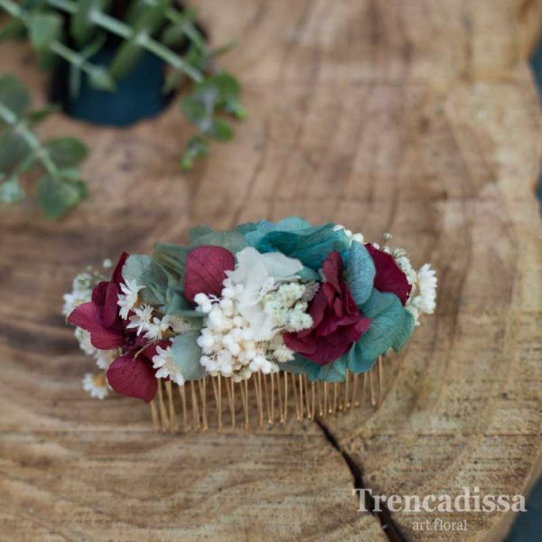 Peineta de flor preservada en tonos turquesa y burdeos