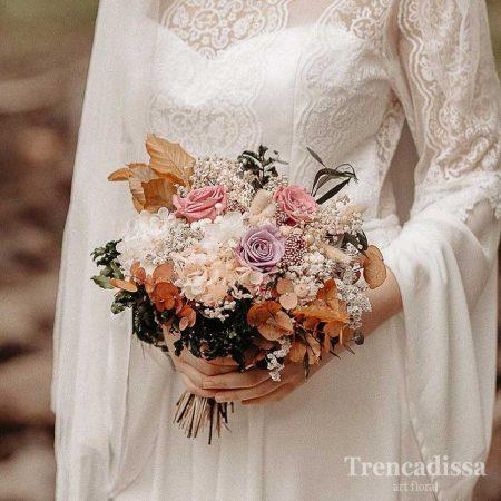 Ramo de novia preservado con rosas en tonos pastel, venta online para toda España