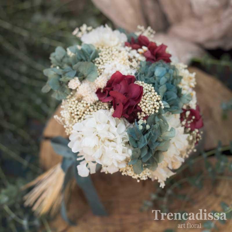 Ramo de novia preservado, con hortensia, en turquesa y burdeos