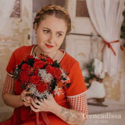 Lorene, ramo de novia preservado en rojos y blancos
