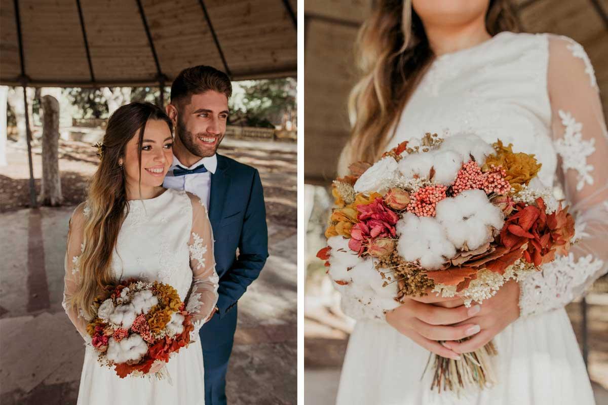 Ramo de novia preservado otoñal