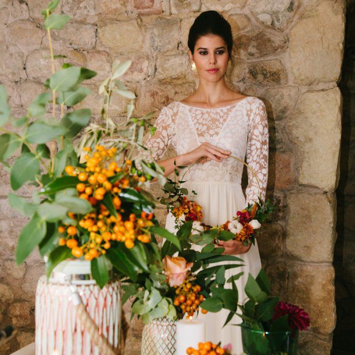 Ramo de novia original en tonos otoñales