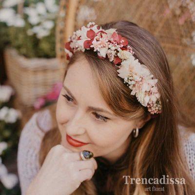 Diadema floral preservada en tonos rosas, venta online