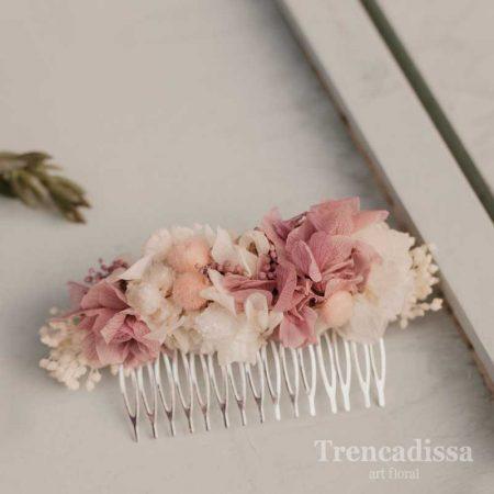 Peineta con flor seca y preservada, en tonos rosa
