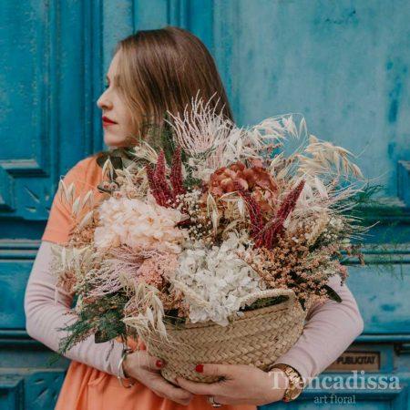 Capazo grande con flor seca y preservada, venta online