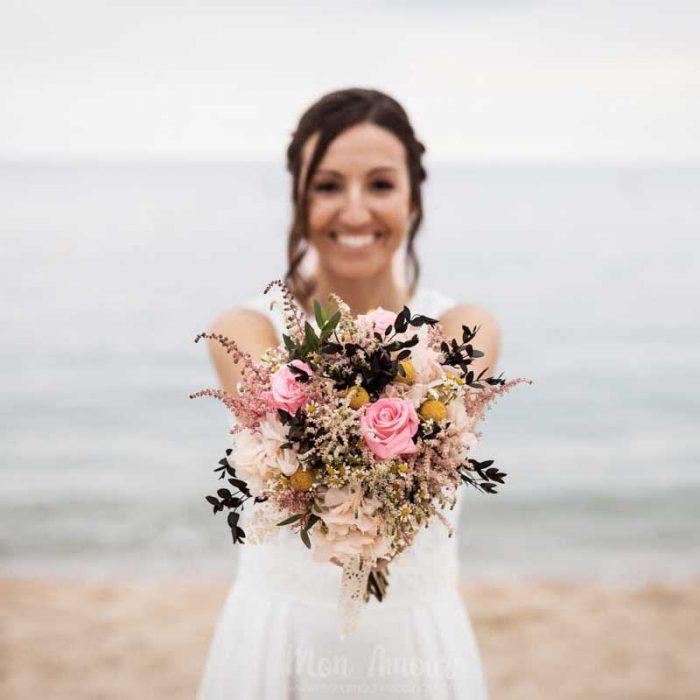 Ramos de boda mixtos, con flor natural y preservada
