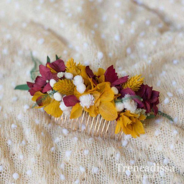 Peineta con flor preservada en tonos ocres y granates, venta online desde Barcelona