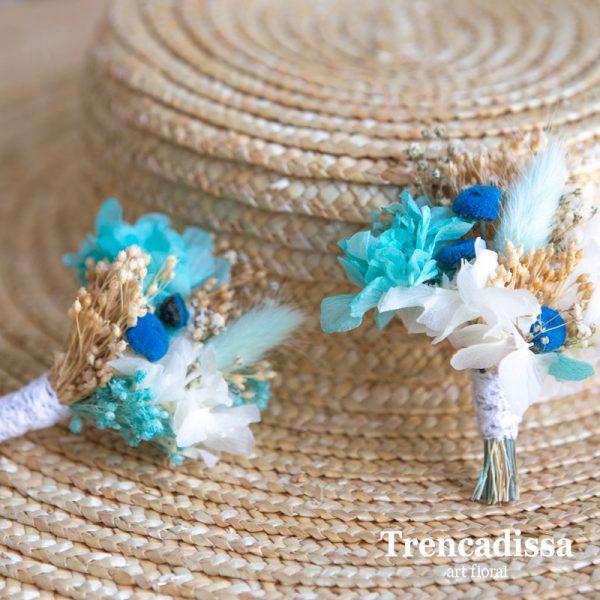 Prendidos para novio de boda en azules y blancos
