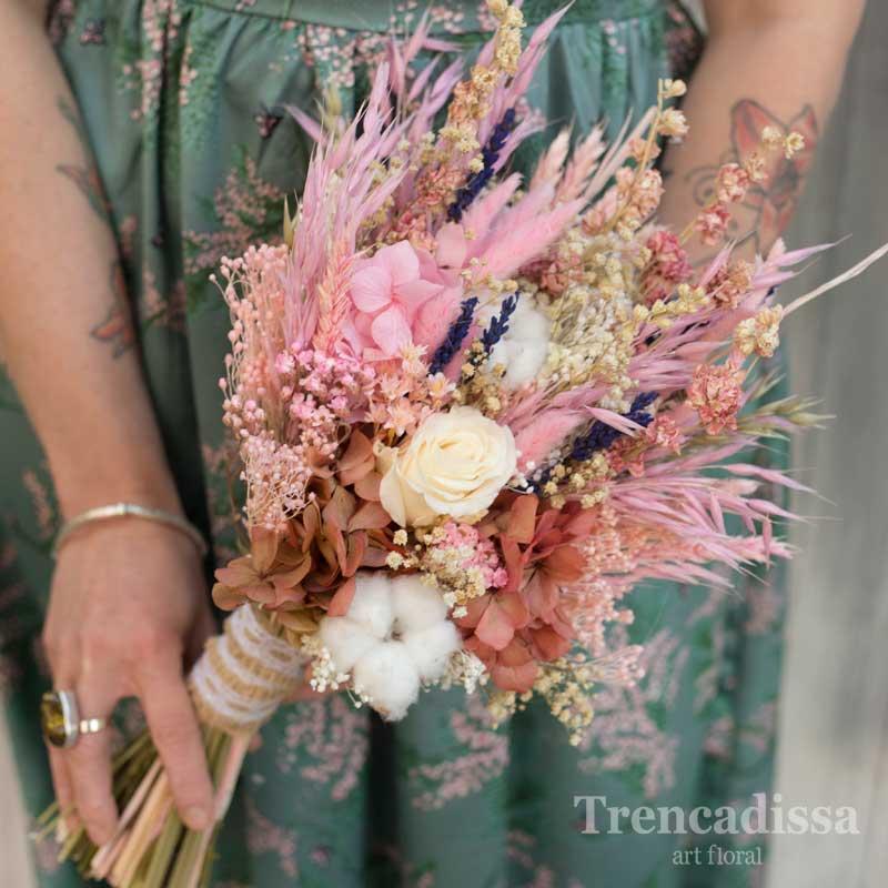 Ramo de novia con rosa y hortensia preservado en tonos rosados, venta online