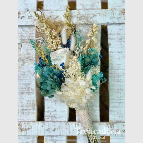 Blue Roxanne, ramo de noviaen turquesa y marfil, en floristería Barcelona