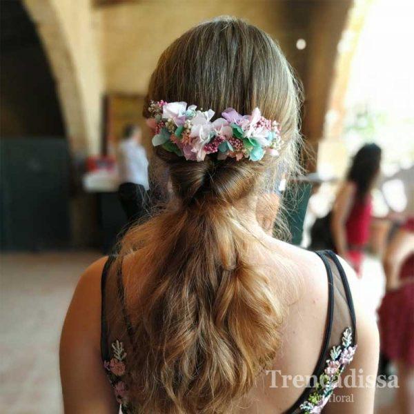 Peineta XL con flor preservada en tonos pastel