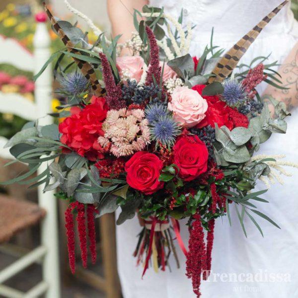 Ramo de novia XL, con flor seca y preservada, en tonos rojos y verdes