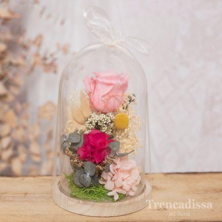 Cúpula de vidrio con rosa preservada