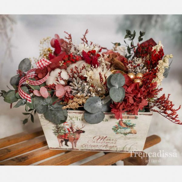 Caja de madera navideña con flores preservadas venta online