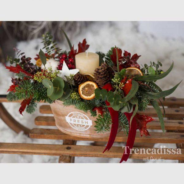Centro floral navideño, con flor natural, venta online