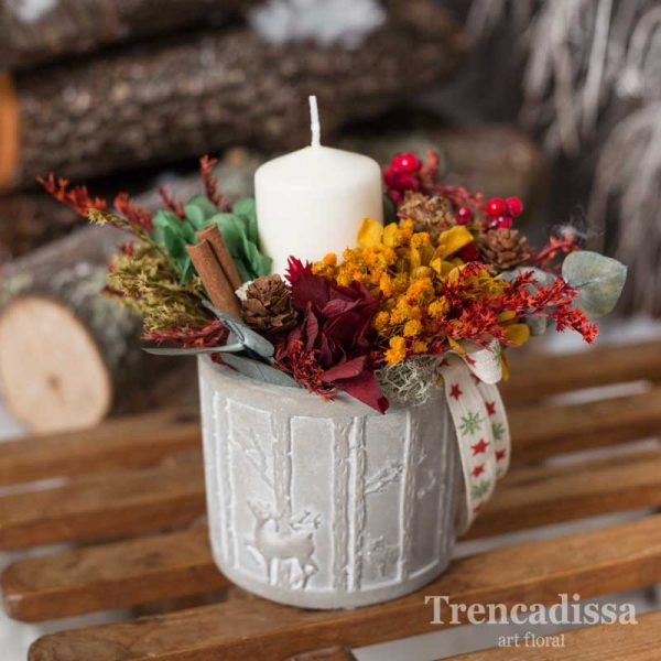 Maceta - portavelas con flor seca y preservada para Navidad.