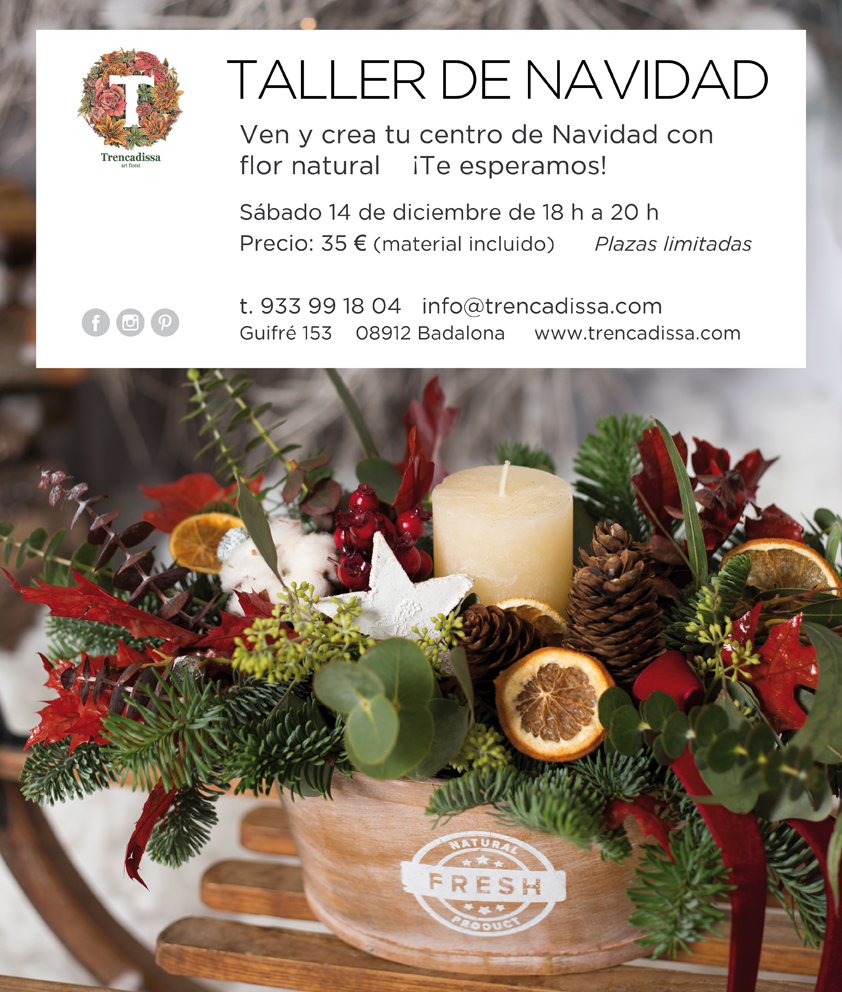 Taller centro floral navideño en Badalona