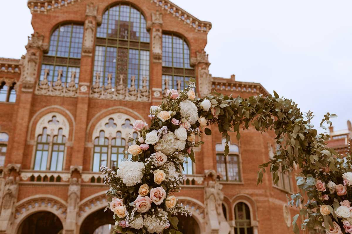 Decoración floral de bodas en Barcelona, Sant Pau.