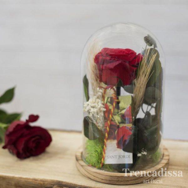 Cúpula con rosa preservada