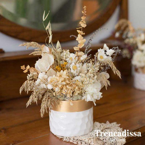 Centro de cerámica con flor seca y preservada Badalona