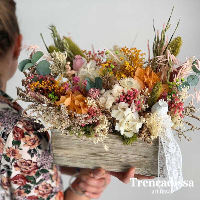 Caja de madera vintage con flores preservadas venta online