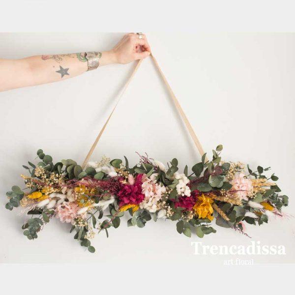 Colgante floral de pared, flor seca y preservada, venta online desde Barcelona