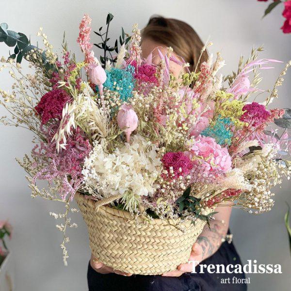 Capazo grande con flor seca y preservada venta online
