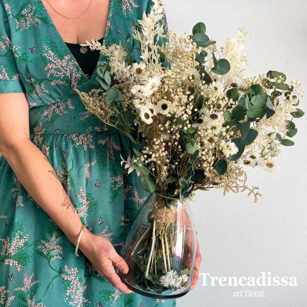 Ramo de flores secas y preservadas con jarrón incluido